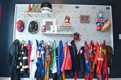 How to create a DIY pegboard wall for versatile kids& storage, Thanks to Behr for sponsoring this post. As always, these project and opinions are all mine. Kids Storage, Storage Design, Toy Storage, Extra Storage, Pegboard Storage, Wall Storage, Toy Rooms, Kids Rooms, Craft Rooms