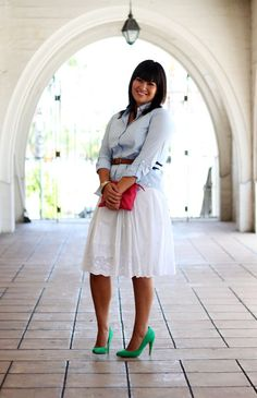 Love the heels with the skirt.