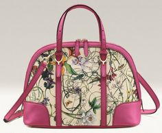 The Gucci Flora print gets a sweet touch of pink leather trim on the Gucci Nice collection bags and accessories, available exclusively in Singapore stores.