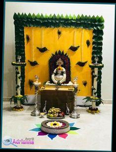 Satyanarayan Pooja Decoration Ideas At Home Housewarming Decorations, Diy Diwali Decorations, Backdrop Decorations, Festival Decorations, Flower Decorations, Backdrops, Ganpati Decoration At Home, Indian Decoration, Ganesh Chaturthi Decoration