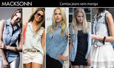 Camisa jeans já é linda, não? Veja essa sem manga da Macksonn, com lavagem diferenciada ela garante despojamento e um ar rocker à qualquer produção!