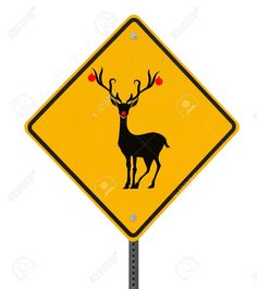 christmas road sign: Modified road sign with a red-nosed reindeer