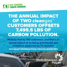 The annual impact of two cleangas Customers offsets 7,495.5 lbs of carbon pollution. Now that the Pay It Forward and Welcome Bonus promotions have been extended, multiply that number by just 100 new Customers. That's an annual impact of avoiding greenhouse gas emissions produced by 70 vehicles! Together, we have the ability to positively impact the environment as we transform incomes! It really doesn't get much more powerful than this! Learn more about the MOST rewarding promotions here.