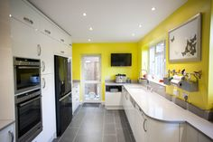 A beautiful White Gloss Curved Kitchen which has been brightened up with sunny yellow walls! Real Kitchen, Lots Of Windows, White C, Smart Storage, Yellow Walls, Kitchen Inspiration, Interior, Modern, Room