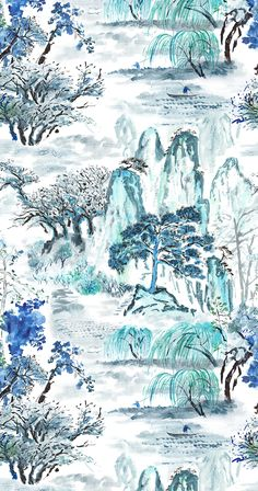 Breathtakingly beautiful traditional wallpaper and fabric. This is Jade Temple wallpaper by Designers Guild. Chinoiserie Wallpaper, Fabric Wallpaper, Cool Wallpaper, Designers Guild, Chinese Fabric, Chinese Art, Tricia Guild, Chinese Wallpaper, Korean Painting