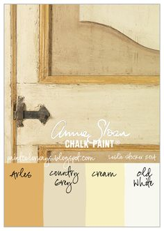 COLORWAYS          A subtle yellow color palette inspired from antiqueitaliandoors.com   Annie Sloan Chalk Paint®, Arles Country Grey, Cream, Old White