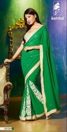 Buy  Graceful Party Wear Green Saree