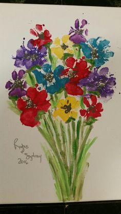 Dog paw print bouquet. Acrylic on canvas.