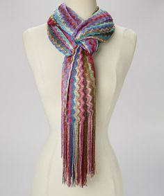 How to tie a scarf.Loving this Hot Pink & Blue Chevron Scarf on #zulily! #zulilyfinds