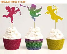 SALE DIY printable toppers Cupid cupcake toppers and wrappers Glitter party decor Cupid clipart DIY Valentines Day Instant download by StudioDprint