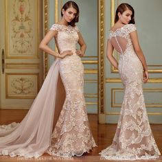 Two looks, one breathtaking wedding gown.. wear David Tutera's Zerrin with or without the dramatic detachable chapel length tulle train.  #117291