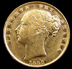 GOLD COIN SOVEREIGN 1882 MELBOURNE SHIELD CO 835