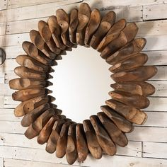 """Antique Shoe Mold Mirror Made from real old antique wood shoe molds, each mirror will be slightly different. A unique find for the home. (36""""Hx36""""Wx5""""D)"""