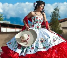 Red dress mexican quinceanera party! dresses quinceanera