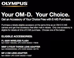 Free Stuff From Olympus for Olympus OM-D E-M5 buyers - time is running out.
