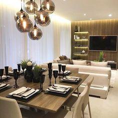 Sala de jantar com estar juntinha autoria de Chris Silveira Arquitetura   @decorcriative