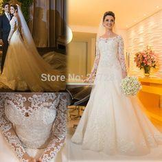 Vestido de noiva 2015 manga longa vestido de renda de manga comprida Lace vestidos de casamento vestidos 2015 vestido noiva casamento