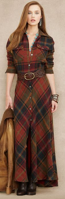 Ralph Lauren Blue Label ● Plaid Wool-Cashmere Maxidress