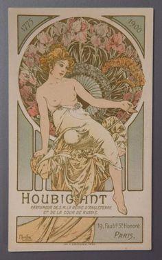 * Alfons Mucha pour Houbigant - (1900) Carte parfumée publicitaire, une face richement illustrée polychrome d'après Alfons Mucha figurant une élégante sur fond floral, titrée, l'autre face comprenant la liste des extraits et spécialités de la mais