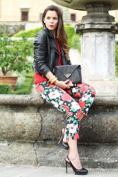 #fashion #fashionista Irene nero rosso fantasia Irene's Closet - Fashion blogger outfit e streetstyle: Floreale.. e leopardato: il mio outfit per Fashion Salade