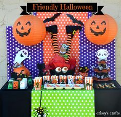 Dessert table and backdrop at a Halloween party!  See more party planning ideas at CatchMyParty.com!