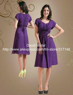 Modest YH091 Lace Up Back Short Sleeve Chiffon Knee Length Bridesmaid Dress Purple