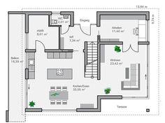 Planta baixa EG Ohlig - Architektur - Modern Architecture House, Architecture Design, Bathroom Plans, House Layouts, Future House, House Plans, New Homes, Floor Plans, Flooring
