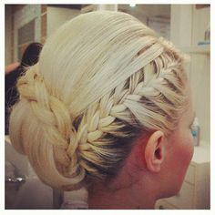 blonde braided updo...this would be really cool with a color streak or some flowers
