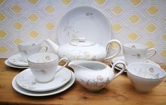 Rosenthal KPM Harvest china tea set, China tea service, Thomas China Germany, Tea pot, Milk jug, Sugar bowl, Tea cups, saucers, side plates