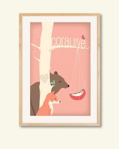 Personalized children's illustration, woodland animals gazing at a newborn, baby shower gift, nursery art. $38.00, via Etsy.