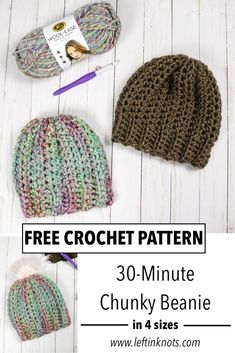 The 30-Minute Chunky Crochet Hat is a pattern you will want to keep in your pattern collection! It is perfect for fast, last-minute gifts, donations, or even a quick and stylish way to make yourself something new. Enjoy this really fast and easy unisex pattern in sizes Toddler through Adult. #crochet #crochetpattern #freecrochetpattern #lionbrand #leftinknots