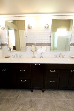 Kraftmaid Vanity Peppercorn On Cherry Corian Countertops With Tile Splash And Floating Mirrors