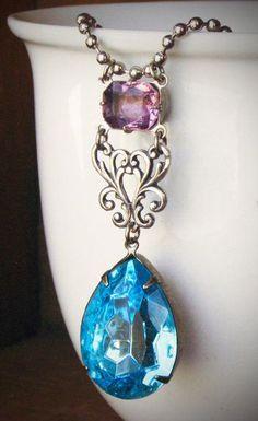 Aqua and Lavender Rhinestone Necklace