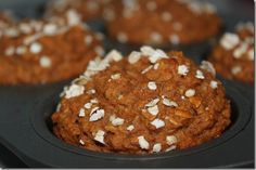 High Protein  Fiber Pumpkin Muffins   Ingredients: 1/2 can of a 15 oz Pure Pumpkin Mix 1/2 cup applesauce 2 egg whites 3 scoops Protein Powder (ESA Protein Powder Vanilla) 1/2 – 3/4 cup Oatmeal (will depend on protein powder) 11/2 teaspoon baking powder 1/2 teaspoon baking soda 1 tablespoon pumpkin pie spice 1/2 teaspoon cinnamon 3 mini scoops stevia… or sweetener to taste Directions: Pre-Heat oven to 350 Spray muffin tins with non-stick cooking spray Mix all wet ingredients together