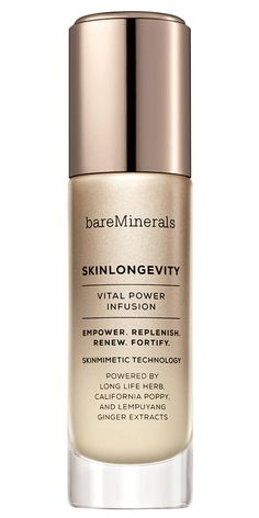 """BareMineralsSkinLongevity Vital Power Infusion: """"In a word, it's insta-radiance,"""" says IlanaBlitzer, Health's beauty director. """"A quick wake-up call for dull skin."""""""