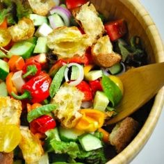 Panzanella -- a fantastic vegetable and bread salad....great recipe for the summer or good way to switch up a normal italian or caesar salad to go with lasagna or something.