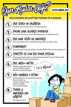 Pinterest - Os 8 passos de Kotter para mudar - Mudanças Pessoais - Paty Pegorin    Veja o post / vídeo em http://patypegorin.net/mudar/