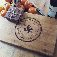 Personalized Cutting Board and Coasters Gift Set Mr. by woodbemine