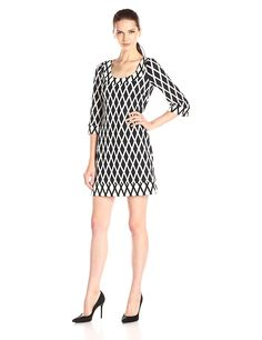 Jessica Simpson Women's Printed Ponte Shift Dress * Special  product just for you. See it now! : black dress