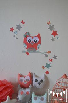 Stickers hibou étoiles et papillons - corail vert d'eau argenté : Décorations murales par la-fabrique-a-reves