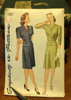 Simplicity 1025 1940s 40s  Dress Skirt Jacket Sewing Pattern Size 14 Bust 32 di EleanorMeriwether su Etsy https://www.etsy.com/it/listing/198379231/simplicity-1025-1940s-40s-dress-skirt