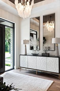 Home Living Room, Living Room Designs, Living Room Decor, Living Room Sideboard Ideas, Glamour Living Room, Credenza Decor, Modern Credenza, Formal Living Rooms, Eclectic Decor