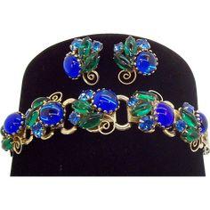 Elegant Sapphire Blue & Emerald Green Glass Cabs & Rhinestones Bracelet & Earring Set