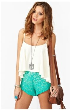 Nasty Gal Rose Lace Shorts