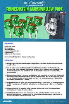 Enjoy Frank's best features when you make Frankenstein Marshmallow Pops with chocolate and marshmallows in this fun recipe!  | Hotel Transylvania 2