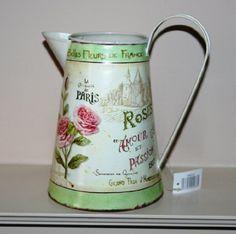 Rose Paris Decorative Tin Metal Jug 21cm Tall