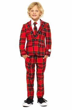 - Oppo Lumberjack Two-Piece Suit with Tie (Toddler Boys, Little Boys & Big Boys)