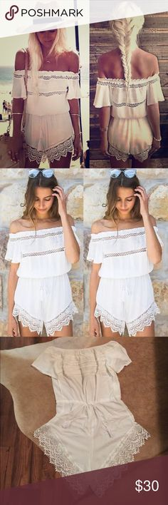 Lace tassel romper Beautiful new white off the shoulder romper!💕 Gorgeous white lace and draw string tassel waist for a loose fit. Measures 18 inches across the bust and 18 inches across the waist laying flat without the draw string tighten. Check out my other listings! Bundle and save!🎉😝 Dresses