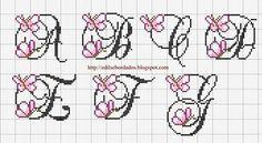 Pink flower alphabet 1 of 5 Cross Stitch Thread, Cross Stitch Letters, Cross Stitch For Kids, Cross Stitch Cards, Cross Stitching, Diy Embroidery, Cross Stitch Embroidery, Embroidery Patterns, Stitch Patterns
