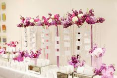 Posy, The Finer Things Events, red gallery photo, Cara + Erik | HIlton Downtown Columbus, wedding, purple, bling, orchid centerpiece